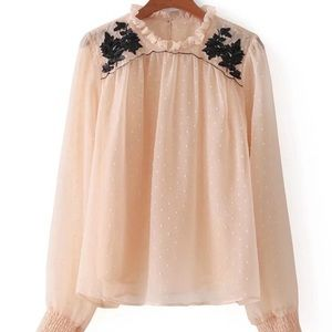 Tops - Frill Neck Sequined Detailed dot blouse